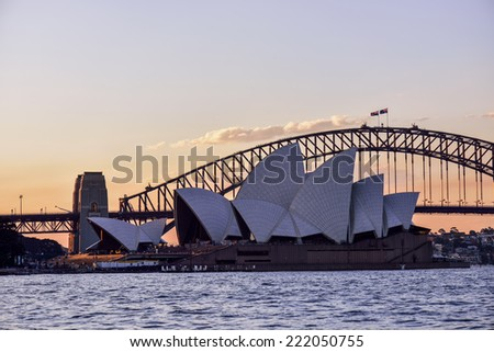 SYDNEY, AUSTRALIA - OCTOBER-5: Sydney Opera House and Habour Bridge on October-5, 2014 in Sydney, Australia. - stock photo