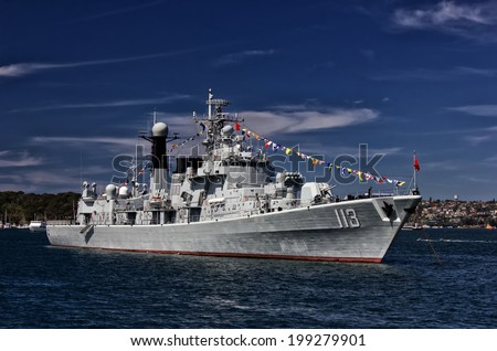 SYDNEY, AUSTRALIA - OCTOBER 5,2013: The Chinese guided missile destroyer PLANS Qingdao joins over 40 other warships from around the world to celebrate the centenary of the Australian Navy. - stock photo