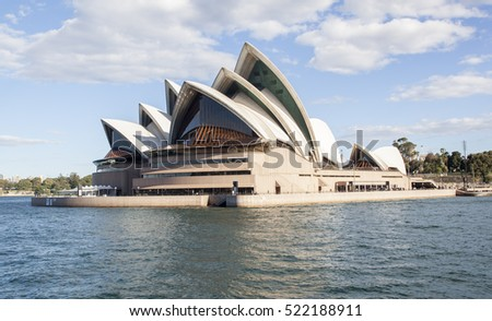 SYDNEY; AUSTRALIA - OCTOBER 11, 2016: The Iconic Sydney Opera House is a multi-venue performing arts centre also containing bars and outdoor restaurants.