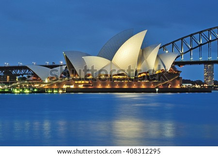 SYDNEY, AUSTRALIA - OCTOBER 18, 2015: The Sydney Opera House seen from Mrs Macquarie's point in Sydney. The Sydney Opera house is iconic landmark in Australia.