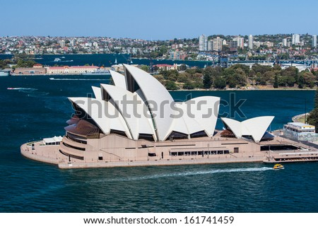 Sydney, Australia - October 16 -The view of Sydney CBD from the Sydney Harbour Bridge on October 16th 2013. - stock photo
