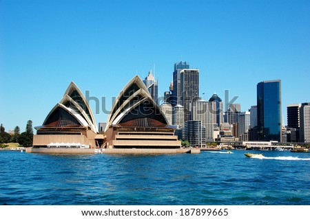 SYDNEY, AUSTRALIA - OCTOBER 8: View on the Sydney Opera House, City and Sydney Cove. Sydney, Australia - October 8, 2012