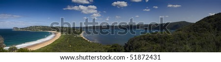 sydney australia palm beach pacific ocean coast headland panorama with bay and surrounding green mountains - stock photo