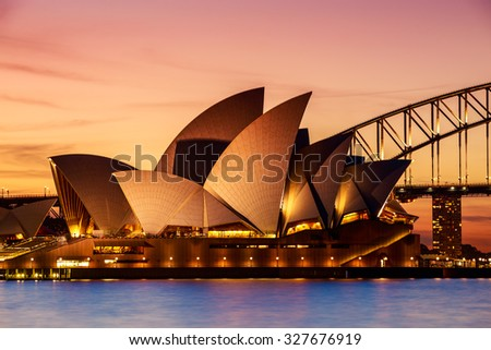 SYDNEY AUSTRALIA - SEPTEMBER 5, 2013 : Close up Opera House in evening on September 5, 2013 in Sydney, Australia