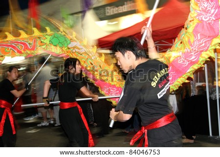 SYDNEY, AUSTRALIA - SEPTEMBER 4 : Lion Dancer perform at the Cabramatta Moon Festival on September 4, 2011 in Sydney, Australia. Cabramatta Moon Festival is an annual festival in Cabramatta suburb. - stock photo