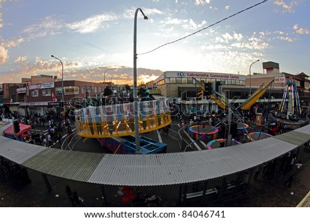 SYDNEY, AUSTRALIA - SEPTEMBER 4 : Situation at the Cabramatta Moon Festival from upper view on September 4, 2011 in Sydney, Australia. Cabramatta Moon Festival is an annual festival in Cabramatta. - stock photo