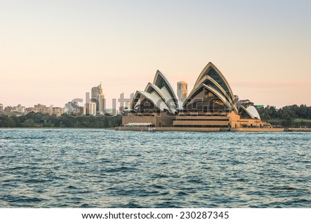 SYDNEY, AUSTRALIA - SEPTEMBER 10: Sydney Opera House in the evening on SEPTEMBER 10, 2008 in Sydney, Australia. The Sydney Opera House hosts over 1,500 performances each year.