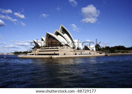 SYDNEY, AUSTRALIA - SEPTEMBER 1:Sydney Opera House - view from the front, on the 1st of September 2011. Opera will celebrate its 40th anniversary in 2013. - stock photo