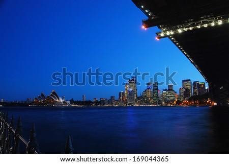 SYDNEY, AUSTRALIA - SEPTEMBER 12: The Harbour Bridge and  Sydney Opera House in the evening on SEPTEMBER 12, 2008 in Sydney, Australia.