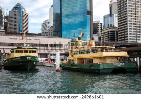 Sydney, Australia - September 21: View of a passenger boat near the Circular Quay in Sydney, Australia on September 21, 2014. - stock photo
