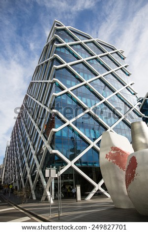 Sydney, Australia - September 19: View of modern office buildings in Sydney, Australia on September 19, 2014. - stock photo