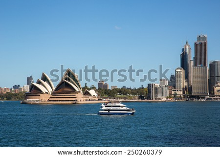 Sydney, Australia - September 19: View of passenger boats near the Circular Quay harbour in Sydney, Australia on September 19, 2014.