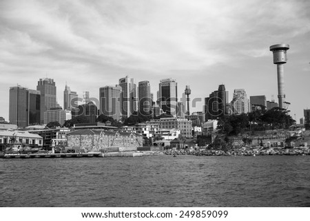 Sydney, Australia - September 21: View of the CBD skyline in Sydney, Australia on September 21, 2014. - stock photo