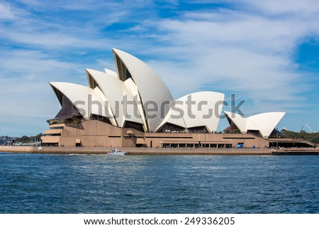 Sydney, Australia - September 19: View of the Opera House, an iconic landmark in Sydney, Australia on September 19, 2014. - stock photo