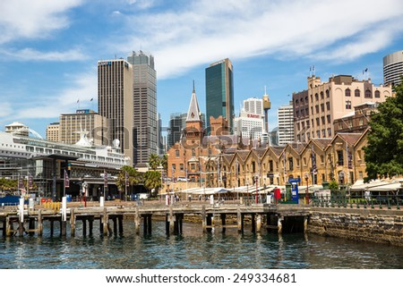 Sydney, Australia - September 19: View of the Quay area near the CBD in Sydney, Australia on September 19, 2014. - stock photo