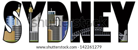 Sydney Australia Text Outline with Tower Bridge Color Raster Vector Illustration - stock photo
