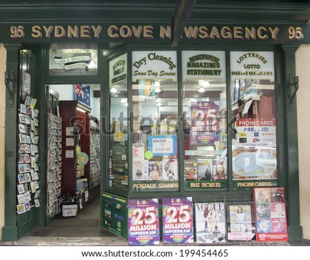 Sydney, Australia- 23th March 2013: Sydney Cove Newsagency in George Street in the Rocks area. The building is an example of a mid Victorian commercial building and residence. - stock photo
