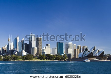 Sydney Australia view from ferry to royal botanic garden, City CBD and Opera house - stock photo