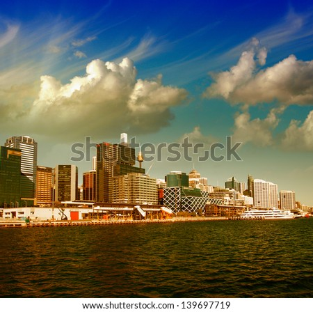 Sydney, Australia. Wonderful city skyline with colourful sky. - stock photo