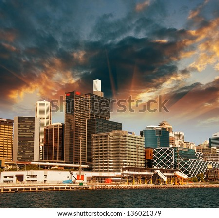 Sydney, Australia. Wonderful sunset colors over City skyline. - stock photo