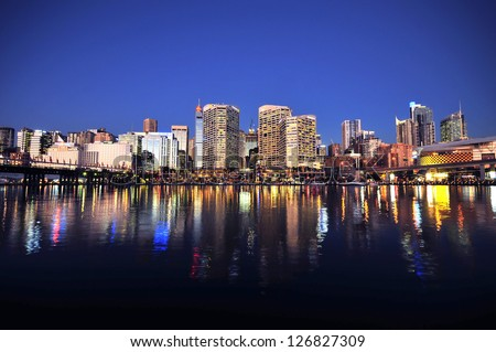 Sydney cbd darling harbour night scape with nice eveing sky - stock photo