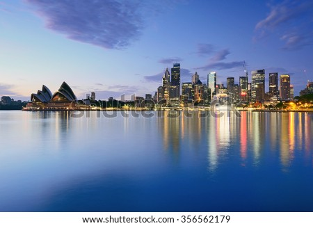 Sydney CBD night view taken from Milsons Point - stock photo