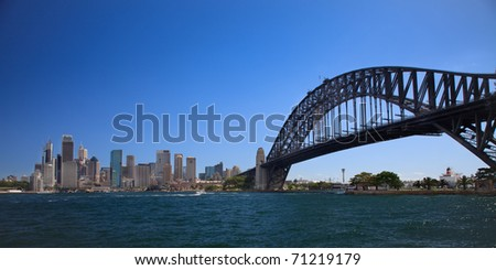Sydney CDB summer day panorama over harbour and bridge arch blue sky and water