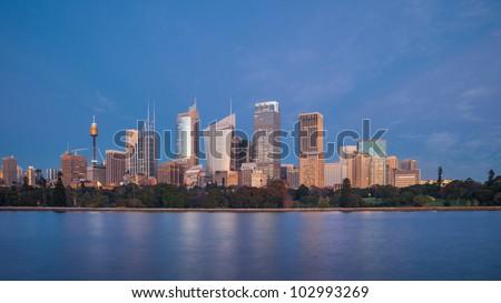 Sydney center at sunrise, Australia - stock photo