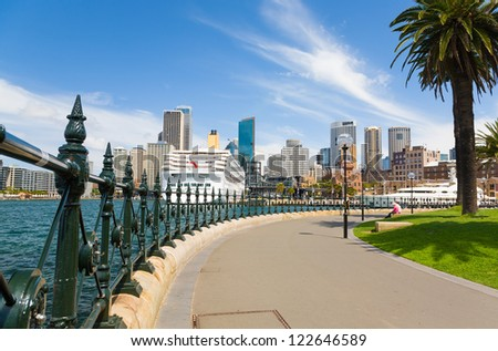 Sydney Central Business District from Dawes Point Park, Australia - stock photo