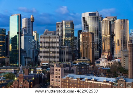 Sydney Central Business District skyscrapers against blue sky on the background. Urban landscape view from above. NSW, Australia