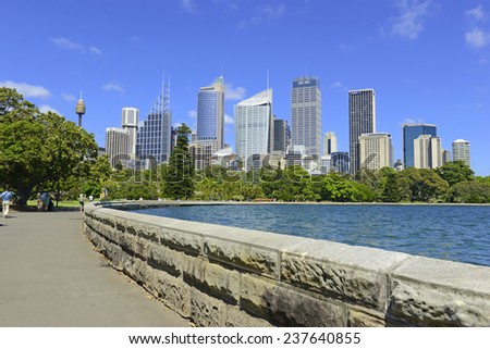 SYDNEY - CIRCA NOVEMBER 2014. Ordinarily considered a safe city, the Central Business District of Sydney was the site of a hostage situation potentially involving ISIS on December 15, 2014. - stock photo