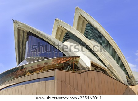 SYDNEY - CIRCA NOVEMBER 2014.  The Sydney Opera House is an epicenter of performing arts which draws tourists from around the globe contributing to the recent rapid increase in tourism in Australia. - stock photo