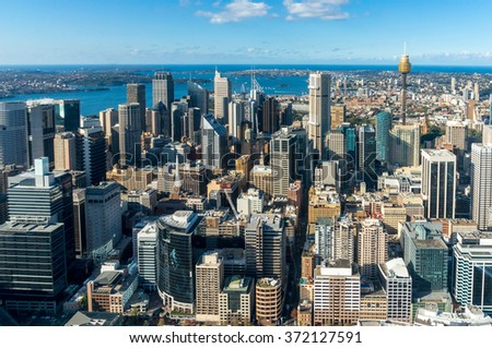 Sydney city aerial view. Sydney CBD, Central Business District from above. Sydney downtown top view - stock photo