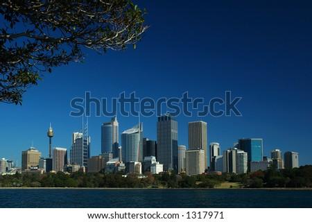 Sydney City Against Blue Sky - stock photo