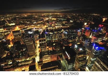 Sydney city at night - stock photo