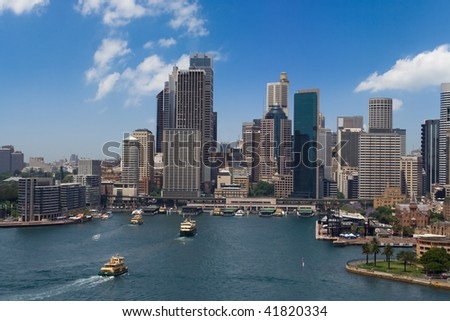 Sydney city Australia business center skyscrapers cityline harbour view - stock photo