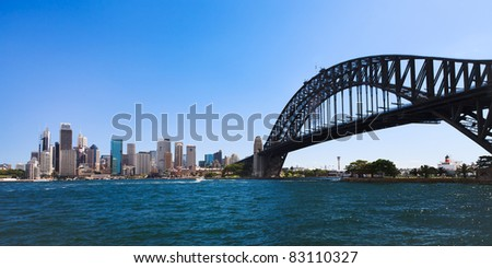 Sydney city CBD cityscape day view from milsons point across harbour with bridge blue water and sky - stock photo