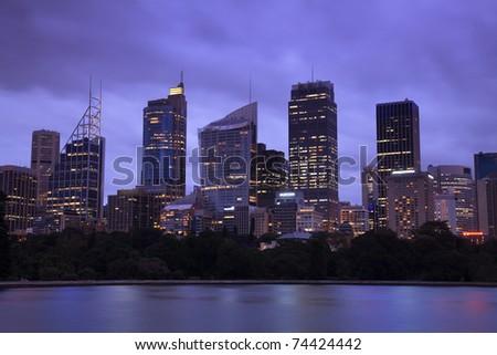 Sydney city CBD skyscrapers cityscape twilight panoramic close-up image - stock photo
