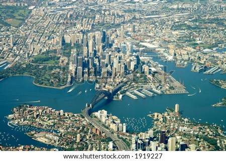 sydney city center aerial view - stock photo