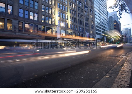 Sydney city center at night, heavy traffic - stock photo