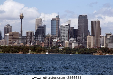 sydney city downtown buildings and bay