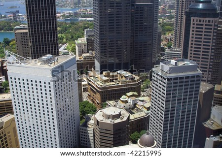 Sydney city downtown skyscrapers close up look out inside metropolis - stock photo