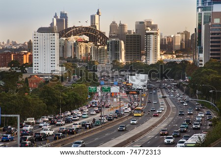 sydney city highway full of cars traffic jam rush hour toll street motor road commuter delays - stock photo