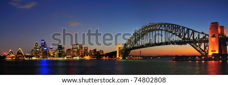 Sydney city in twilight - stock photo