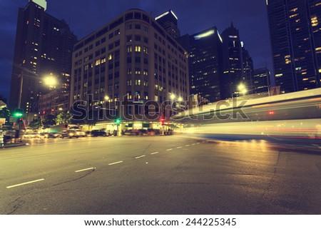 Sydney city light trails - stock photo