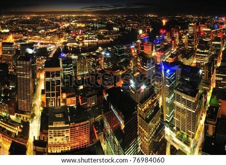 Sydney city night view - stock photo