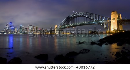 Sydney city panorama night scene with illumination view from Milsons point on Harbour bridge, downtown, opera.