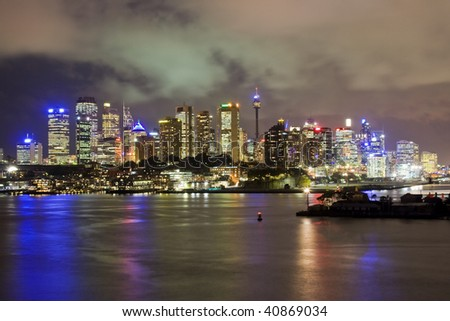 Sydney city panorama night view light illumination city-line famous place harbor highlights - stock photo