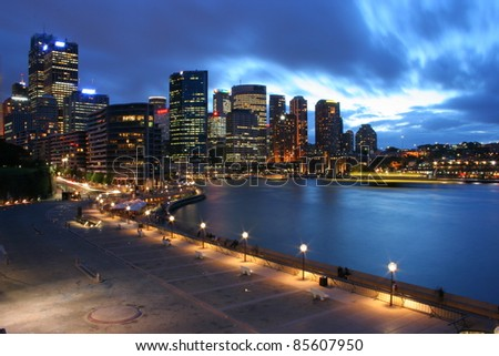 Sydney city skyline at night in New South Wales Australia