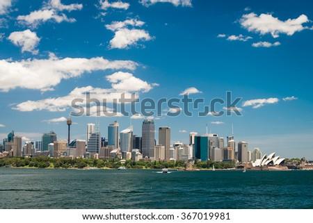 Sydney city skyline on a bright day - stock photo